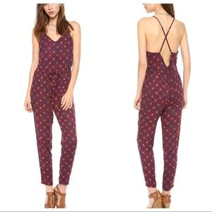 Free People open back print jumpsuit